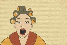 Όμορφο αναδρομικό πρόσωπο γυναικών διανυσματική απεικόνιση
