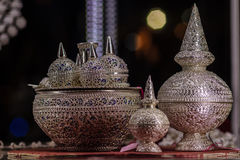 Όμορφο αρχαίο ταϊλανδικό γνήσιο ασημένιο κόσμημα, αναδρομικό χαραγμένο Si Στοκ Φωτογραφία