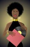 Όμορφο αφρικανικό ύφος γυναικείου disco με το βινύλιο ελεύθερη απεικόνιση δικαιώματος