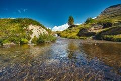 Όμορφο αλπικό τοπίο με μια πορεία βουνών, ελβετικές Άλπεις, Ευρώπη Στοκ Φωτογραφίες