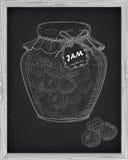 Όμορφο βάζο της σπιτικής μαρμελάδας με το σμέουρο Στοκ Φωτογραφίες