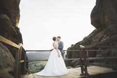 Όμορφο γαμήλιοι ζεύγος, νύφη και νεόνυμφος, ερωτευμένοι στο υπόβαθρο των βουνών Στοκ εικόνα με δικαίωμα ελεύθερης χρήσης