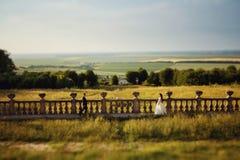 Όμορφο γαμήλιο ζεύγος, μοντέρνη νύφη και όμορφος νεόνυμφος, hugg Στοκ Εικόνες