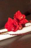 Κινηματογράφηση σε πρώτο πλάνο των κόκκινων λουλουδιών στα γαμήλια κεριά Στοκ φωτογραφία με δικαίωμα ελεύθερης χρήσης