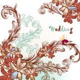 Όμορφο γαμήλιο υπόβαθρο με τα λουλούδια και τους στροβίλους Στοκ Φωτογραφίες