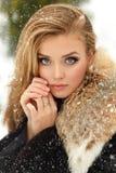 Όμορφο γοητευτικό κορίτσι στο παλτό γουνών που χαμογελά το χειμώνα χιόνι Στοκ Φωτογραφίες