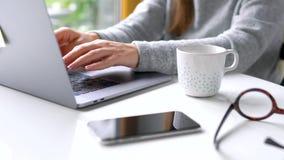 Όμορφο γραφείο συνεδρίασης γυναικών στο σπίτι και εργασία σε ένα lap-top φιλμ μικρού μήκους