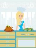 Όμορφο γυναικείο εξυπηρετώντας γεύμα διανυσματική απεικόνιση