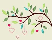 όμορφο δέντρο καρδιών κλάδ&om ελεύθερη απεικόνιση δικαιώματος