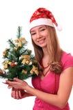όμορφο δέντρο κοριτσιών Χρ&i Στοκ φωτογραφίες με δικαίωμα ελεύθερης χρήσης