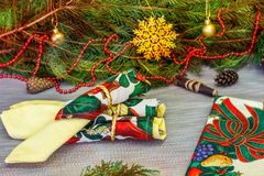 όμορφο διάνυσμα απεικόνισης σχεδίου Χριστουγέννων Υπόβαθρο Χριστουγέννων με τα δώρα, Δεκέμβριος Χριστουγέννων Στοκ εικόνες με δικαίωμα ελεύθερης χρήσης