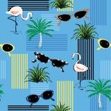 Όμορφο διακοσμητικό άνευ ραφής σχέδιο με το hand-drawn φλαμίγκο, π διανυσματική απεικόνιση