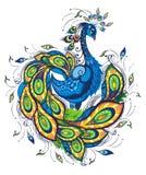 Όμορφο διανυσματικό πουλί φαντασίας Διανυσματική απεικόνιση Reacock ελεύθερη απεικόνιση δικαιώματος