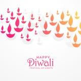 Όμορφο δονούμενο σχέδιο ευχετήριων καρτών diwali Στοκ Εικόνες