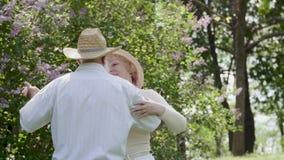 Όμορφο ενήλικο βαλς χορού ζευγών στο πάρκο απόθεμα βίντεο