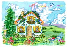 Όμορφο εξοχικό σπίτι με τα έπιπλα, τα λουλούδια και το κωνοφόρο κήπων Στοκ φωτογραφία με δικαίωμα ελεύθερης χρήσης