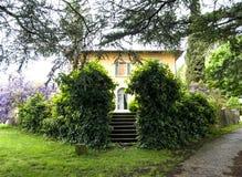 Όμορφο εξοχικό σπίτι στην Τοσκάνη με τις μεγάλες εγκαταστάσεις του wisteria Στοκ Φωτογραφία
