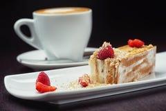 Όμορφο επιδόρπιο κέικ με την κρέμα καφέ και φρέσκος Στοκ φωτογραφίες με δικαίωμα ελεύθερης χρήσης