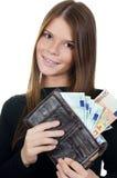 όμορφο ευρο- κορίτσι τραπεζογραμματίων Στοκ φωτογραφία με δικαίωμα ελεύθερης χρήσης