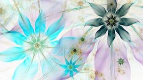 Όμορφο ελαφριά χρωματισμένο σύγχρονο υπόβαθρο λουλουδιών στα κυανά, μπλε, ρόδινα, κίτρινα χρώματα διανυσματική απεικόνιση