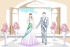 Όμορφο ζεύγος στη γαμήλια τελετή Στοκ Φωτογραφία