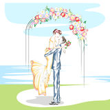 Όμορφο ζεύγος στη γαμήλια τελετή Στοκ εικόνες με δικαίωμα ελεύθερης χρήσης