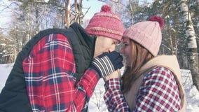 Όμορφο ζεύγος των χαμογελώντας νέων σε ένα χιονώδες δάσος μια ηλιόλουστη ημέρα που θερμαίνει τα χέρια τους με την αναπνοή τους απόθεμα βίντεο