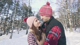 Όμορφο ζεύγος των χαμογελώντας νέων στα χειμερινά ενδύματα σε ένα χιονώδες δάσος σε ένα ηλιόλουστο αγκάλιασμα ημέρας φιλμ μικρού μήκους