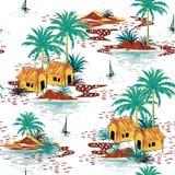 Όμορφο ζωηρόχρωμο άνευ ραφής σχέδιο νησιών στο άσπρο υπόβαθρο ελεύθερη απεικόνιση δικαιώματος