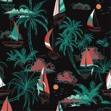 Όμορφο ζωηρόχρωμο νησί θερινών όμορφο άνευ ραφής σχεδίων με ελεύθερη απεικόνιση δικαιώματος