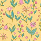 Όμορφο ζωηρόχρωμο σύνολο λουλουδιών, διανυσματικό άνευ ραφής σχέδιο Στοκ Εικόνα