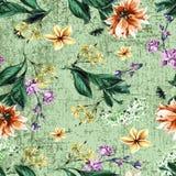 Όμορφο ζωηρόχρωμο υπόβαθρο γήρανσης σχεδίων λουλουδιών γεωμετρικό απεικόνιση αποθεμάτων