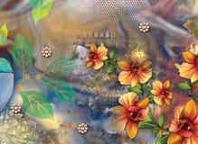 Όμορφο ζωηρόχρωμο υπόβαθρο και floral σχέδιο στοκ εικόνες