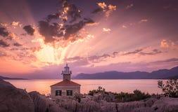 Όμορφο ηλιοβασίλεμα σε Makarska, Κροατία στοκ φωτογραφίες
