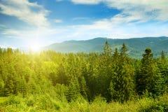 Όμορφο ηλιοβασίλεμα στα γραφικά βουνά carpathians στοκ εικόνα