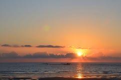 Όμορφο ηλιοβασίλεμα στον Ατλαντικό Ωκεανό, Βιάνα ντο Καστέλο, Πορτογαλία Στοκ Εικόνες