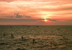 Όμορφο ηλιοβασίλεμα στο Vung Tau, Βιετνάμ στοκ εικόνες