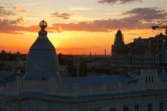 Όμορφο ηλιοβασίλεμα πέρα από την Οδησσός Στοκ εικόνα με δικαίωμα ελεύθερης χρήσης