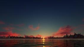 Όμορφο ηλιοβασίλεμα σε μια πόλη ουρανοξυστών απεικόνιση αποθεμάτων