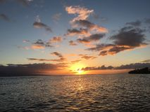 Όμορφο ηλιοβασίλεμα σε Maui στοκ εικόνες