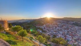 Όμορφο ηλιοβασίλεμα timelapse στο tibidabo στη Βαρκελώνη, Ισπανία απόθεμα βίντεο