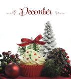 Όμορφο θέμα διακοπών Χριστουγέννων cupcake με τα εποχιακές λουλούδια και τις διακοσμήσεις για το μήνα Δεκέμβριο Στοκ Εικόνες