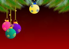 Όμορφο θέμα Χριστουγέννων στο κόκκινο υπόβαθρο Στοκ Φωτογραφίες