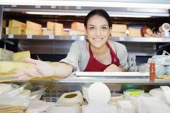 Όμορφο θηλυκό brunette με το διαφορετικό τυρί τύπων στη γαστρονομία στοκ εικόνες με δικαίωμα ελεύθερης χρήσης