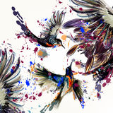 Όμορφο διάνυσμα πίσω με τα λουλούδια και τα πουλιά κρίνων Στοκ φωτογραφία με δικαίωμα ελεύθερης χρήσης