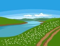 Όμορφο διάνυσμα φύσης καλοκαίρι φύσης τοπίων dombai Καύκασου Στοκ Εικόνες
