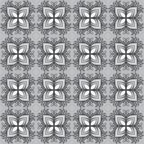 Όμορφο διανυσματικό άνευ ραφής σχέδιο τυπωμένων υλών Λουλούδια Mandala με το γκρίζο υπόβαθρο Στοκ Εικόνα