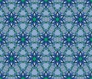 Όμορφο διανυσματικό άνευ ραφής σχέδιο τυπωμένων υλών Λουλούδια Mandala με το μπλε υπόβαθρο Στοκ Φωτογραφία