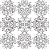 Όμορφο διανυσματικό άνευ ραφής σχέδιο τυπωμένων υλών Λουλούδια Mandala με το άσπρο υπόβαθρο Στοκ Φωτογραφίες