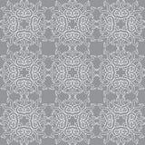 Όμορφο διανυσματικό άνευ ραφής σχέδιο τυπωμένων υλών Λουλούδια Mandala με το γκρίζο υπόβαθρο Στοκ εικόνες με δικαίωμα ελεύθερης χρήσης